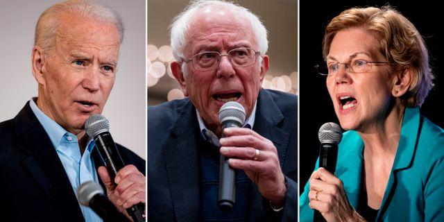 Joe Biden, Bernie Sanders och Elizabeth Warren. TT