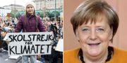 Greta Thunberg under demonstrationen i Hamburg/Angela Merkel.  TT