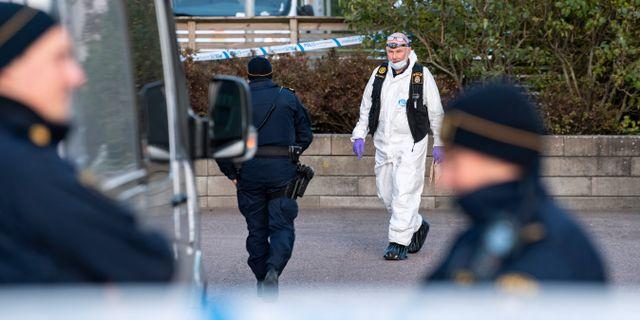 Bild från brottsplatsen. Johan Nilsson/TT / TT NYHETSBYRÅN
