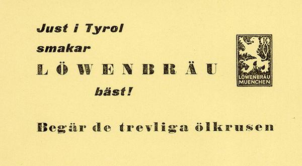 Ölreklam Tyrol 60-tal.  Bild ur Gröna Lunds historiska arkiv hos Centrum för Näringslivshistoria.