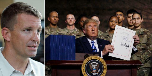 Erik Prince/Trump på en militärbas tidigare i veckan. TT