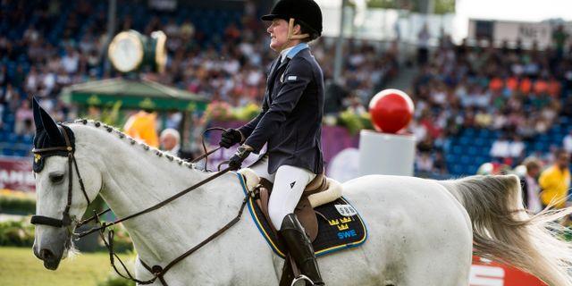 Helena Persson på hästen Bonzai H fick 12 fel i dagens hoppningar Pontus Lundahl/TT / TT NYHETSBYRÅN