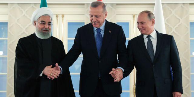 Hassan Rouhani, Recep Tayyip Erdogan och Vladimir Putin AFP/TT