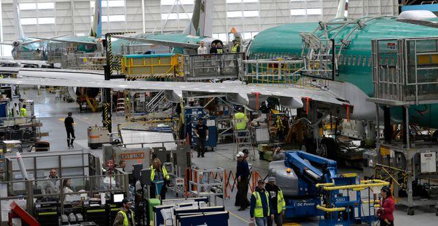 Tillverkning av Boeingplan. Illustrationsbild.  Ted S. Warren / TT NYHETSBYRÅN
