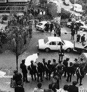 Italienske politikern Aldo Moro har kidnappats och hans fem livvakter dödats. Terrororganistationen Röda brigaderna tar på sig ansvaret. Foto från 1978. UPI / TT / TT NYHETSBYRÅN