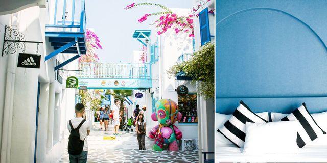I Santorini Park finns både grekiska gränder, butiker och hotell. Facebook: Santorini Park Cha-Am