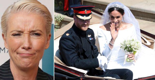 Emma Thompson/Prins Harry och Meghan Markle på bröllopet. TT
