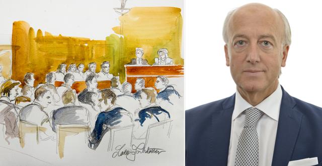 Illustration från rättegången mot Södertäljenätverket 2012/Robert Halef TT/Riksdagen