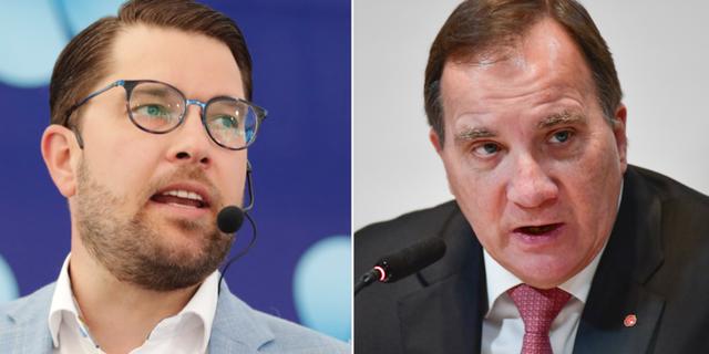Jimmie Åkesson (SD) och Stefan Löfven (S). Arkivbilder. TT