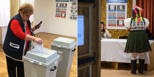 Väljare lägger sina röster i dagens val i Ungern. TT