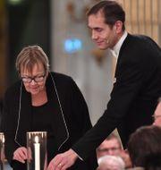 Ledamöterna Tua Forsström och Mats Malm under Svenska Akademiens årliga högtidssammankomst 2019. Jonas Ekströmer/TT / TT NYHETSBYRÅN