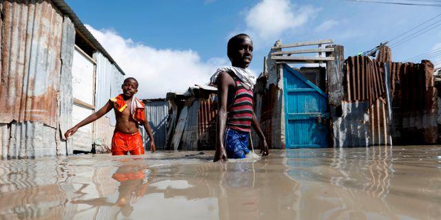 Översvämningarna har även drabbar Somalias huvudstad Mogadishu. Feisal Omar / TT NYHETSBYRÅN
