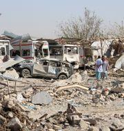Skador efter ett bombdåd i Afghanistan. Stringer . / TT NYHETSBYRÅN
