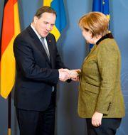 Löfven och Merkel under ett möte 2017. Henrik Montgomery/TT / TT NYHETSBYRÅN