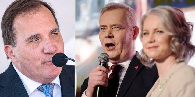 Stefan Löfven (S) och Finlands nya minister Antti Rinne. TT