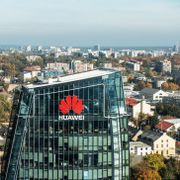 Vilnius, October 10, 2018: Huawei logo on a building in Vilnius, Lithuania. Huawei is leading global provider of information and communications technology infrastructure and smart devices Shutterstock