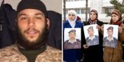 Misstänkte terroristen Osama Krayem/Till höger håller piloten Moaz Kasasbehs hustru Anwar al-Tarawneh upp en bild på sin make TT