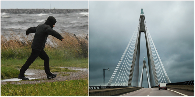 Man i motvind och Uddevallabron. TT