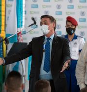 Jair Bolsonaro under invigningen av en ny militärakademi i Rio de Janeiro på fredagen. Silvia Izquierdo / TT NYHETSBYRÅN