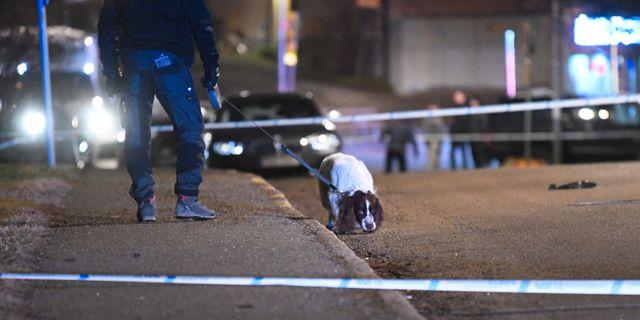 Misstänkt skottlossning i Kärrtorp i mars. Fredrik Sandberg/TT / TT NYHETSBYRÅN