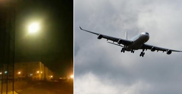 Bild från det videoklipp som påstås visa när flygplanet skjuts ner/Ett plan på väg in för landning på Arlanda efter en flygning från Teheran. TT