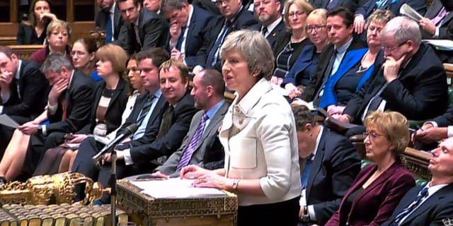 Theresa May i parlamentet på måndagen. HO / AFP
