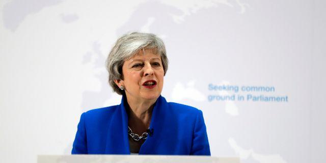 Theresa May under tisdagens tal.  POOL / TT NYHETSBYRÅN