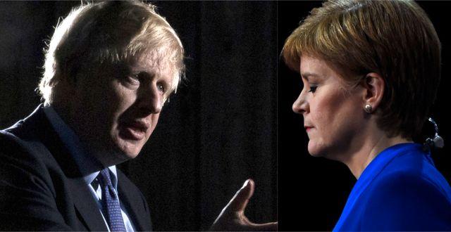 Boris Johnson och Nicola Sturgeon. Montage. TT