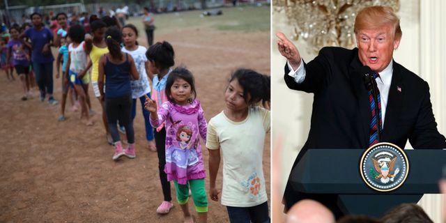 Barn som deltog i den mexikanska karavanen/Donald Trump. TT
