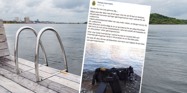 Misstankt blottare hoppade i vattnet