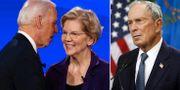 Joe Biden och Elizabeth Warren/Michael Bloomberg. TT