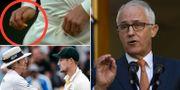 Den gula tejpbit som är i fokus för skandalen/Cameron Smith konfronteras av domaren/Malcolm Turnbull. TT