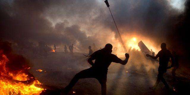 Protester vid gränsen tidigare i veckan. Khalil Hamra / TT NYHETSBYRÅN/ NTB Scanpix