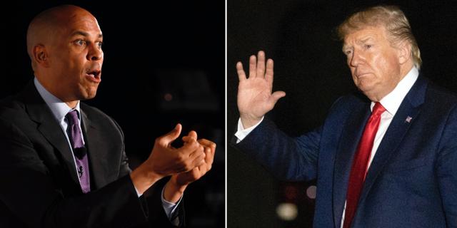 Cory Booker och Donald Trump. TT