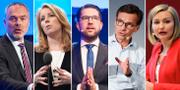 Partiledarna: Björklund (L), Lööf (C), Åkesson (SD), Kristersson (M), Busch Thor (KD). TT