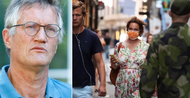 Statsepidemiolog Anders Tegnell/Kvinna med munskydd.  TT