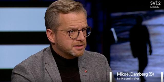 Inrikesminister Mikael Damberg (S) intervjuades i SVT:s Agenda på söndagen.  Skärmdump från SVT Play.