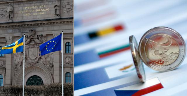 En svensk och en EU-flagga samt euro-mynt.  TT.