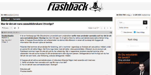 Skärmdump från Flashback.  Flashback.