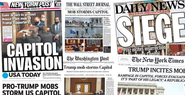 Amerikanska tidningars förstasidor på torsdagen.