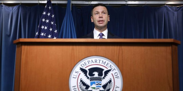 Kevin McAleenan under dagens presskonferens CHIP SOMODEVILLA / GETTY IMAGES NORTH AMERICA