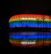 Allianz Arena lystes upp under en fotbollsmatch i maj i år.  ANDREAS GEBERT / BILDBYRÅN