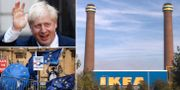 Boris Johnson och demonstranter på tisdagen. Illustrationsbild: Ikea i Croydon, söder om centrala London.