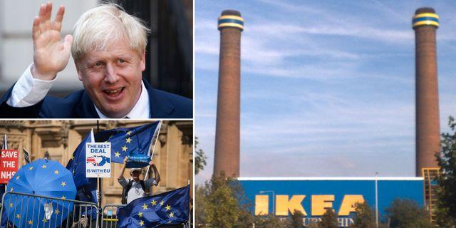 Boris Johnson och demonstranter på tisdagen. Illustrationsbild: Ikea i Croydon, söder om centrala London.