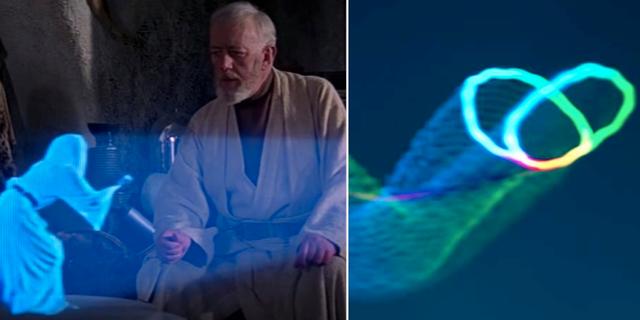 Prinsessan Leia och Obi Wan Kenobi i Star Wars/Det fjärils-hologram som forskarna tagit fram.