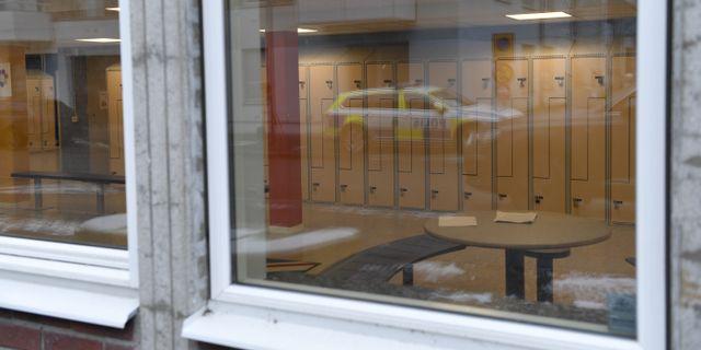 Polisen på plats efter händelsen.  Stina Stjernkvist/TT / TT NYHETSBYRÅN