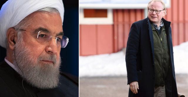 Hassan Rouhani t.v. Peter Hultqvist (S) t.h. TT