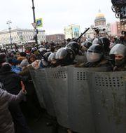 Bild från protesten i St Petersburg, Ryssland Valentin Egorshin / TT NYHETSBYRÅN