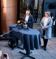Ebba Busch håller pressträff utanför Uppsala tingsrätt på tisdagen. Carl-Olof Zimmerman/TT / TT NYHETSBYRÅN