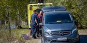 Räddningstjäns på plats efter en singelolycka vid Sörfors strax utanför Sundsvall. Mats Andersson / TT / TT NYHETSBYRÅN